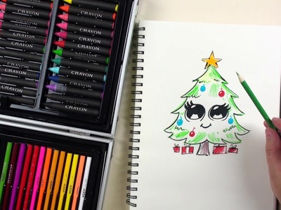 How to Draw Cute Christmas Tree Emoji for beginners with 133 Piece Kiddy Color Painting Set