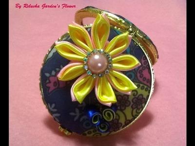 Kanzashi #51- Flor de Tecido Cetim - DIY - Satin Flower.Satin-Blume.サテン花