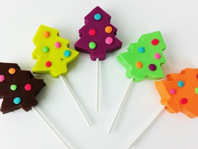 Learn Colors Play Doh Lollipop Christmas Tree Surprise Toys for Kids Fun and Creative for Children