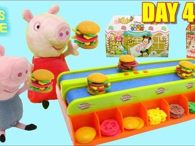 Peppa Pig Toys - Burger Mania Game and Christmas Advent Calendar Unboxing Day 4 TOYSLINE