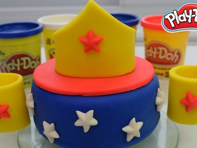 Plastilina  Pastel de plastilina de la Mujer Maravilla  DIY Wonder Woman cake toys  Salila Show