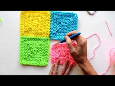CROCHET: Join-As-You-Go Solid Granny Squares