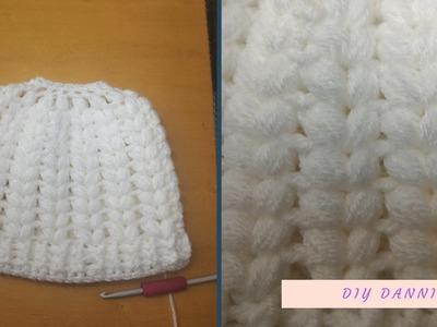 Crochet Puff Stitch Messy Bun Beanie