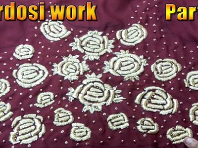 How to do zardosi work on sarees and dress at home step by step part 2