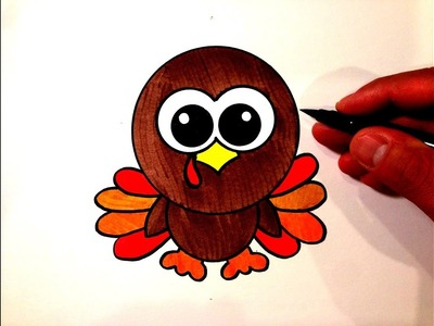 How to Draw a Cute Turkey