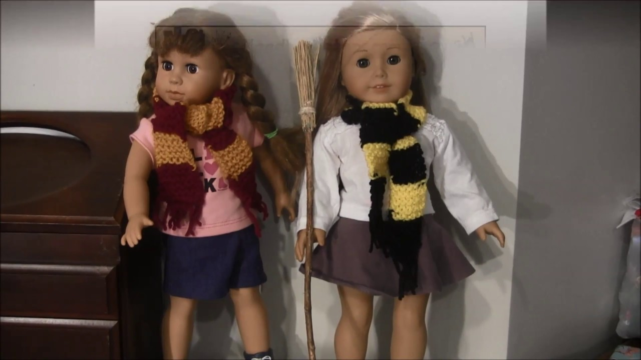How to Knit a Doll Scarf for American Girl Doll (Harry Potter Scarf)