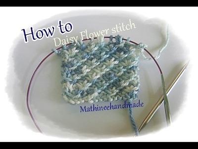 How to Knitting basic Daisy Flower stitch ver.1 _ Mathineehandmade