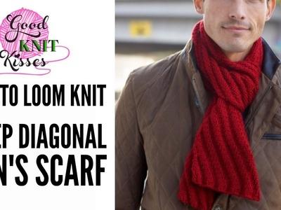 How to LOOM Knit Steep Diagonal Scarf featuring Bernat Softee Chunky