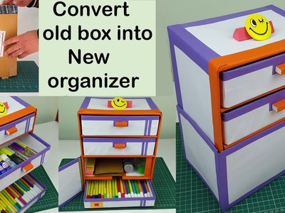 How to make a cardboard DIY desk organizer. drawer organizer from cardboard boxes.