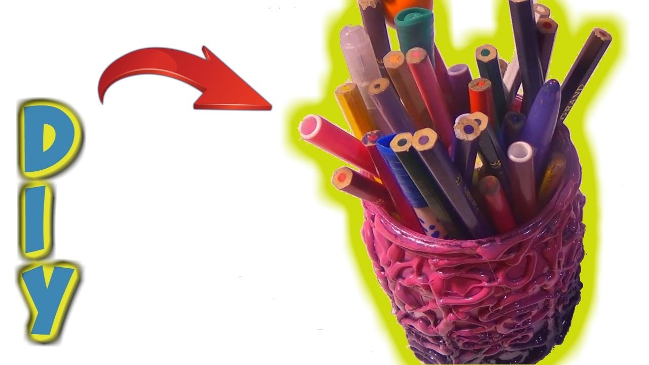 HOW TO MAKE A PENCIL HOLDER WITH HOT GLUE