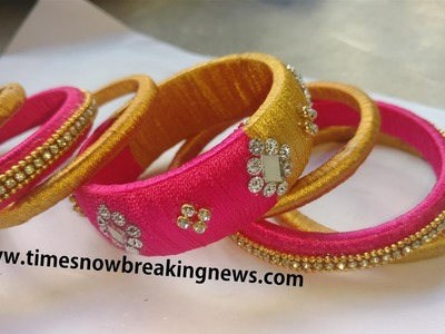 How to make Designer Silk Thread Bangles at Home | silk thread bangles making tutorial