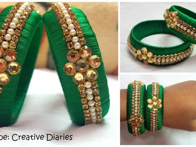 How to make Latest Designer Silk thread bangles at home I Party wear bangles I Creative Diaries
