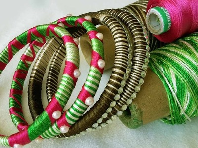How to make old bangles into new navara thread bangles #silk thread bangles