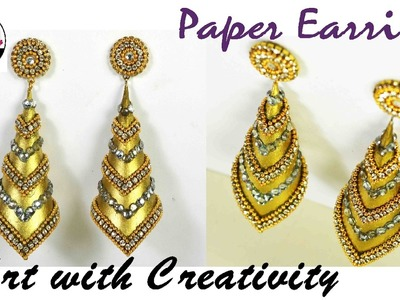 How to make Paper Earrings | made out of paper | Art with Creativity 143
