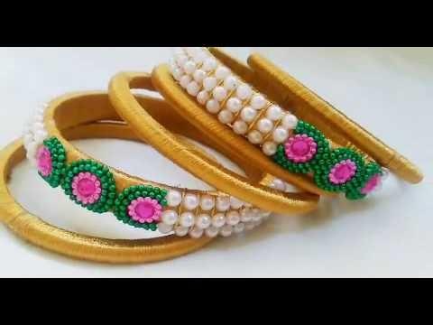 HOW To Make Silk Thread Bangles|Gold colour Bangles|Pearls Bangles