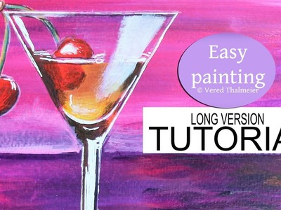 How to paint a Cocktail Glass at Sunset - Acrylic tutorial for beginners step by step. Cherry