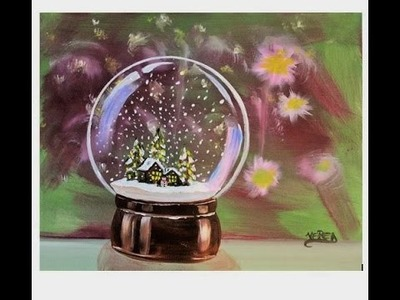 How to paint Christmas SNOW GLOBE. Step by Step Tutorial GLASS SNOWBALL