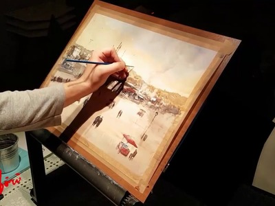 How to Paint Sunset - Sunset at the Square, Istanbul Watercolor Painting Demo (Long Version)