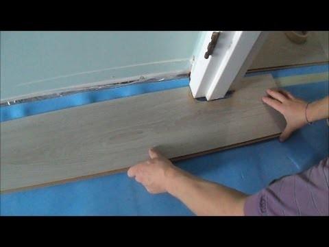 Installing Laminate.Cork Flooring without Transitions: How to Pass a Door Jamb- MrYoucandoityourself