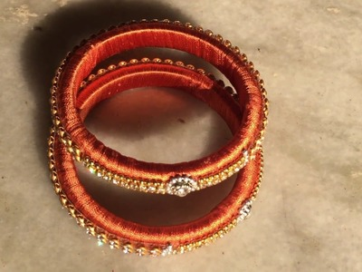 Silkthread bangle making with beads | How to make silk thread bangles