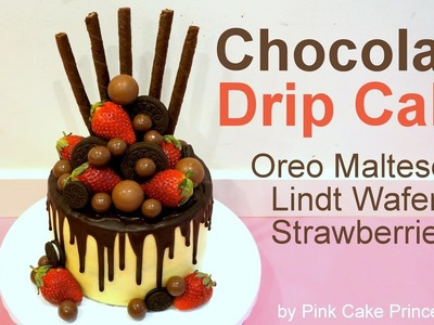 Valentine's Day Chocolate Drip Cake How to with Oreos Maltesers Lindt Lindor Wafers & Strawberries