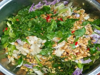 Asian Food - How To Make Neem Salad With Grilled Fish In My Village - Healthiest Food In Cambodia