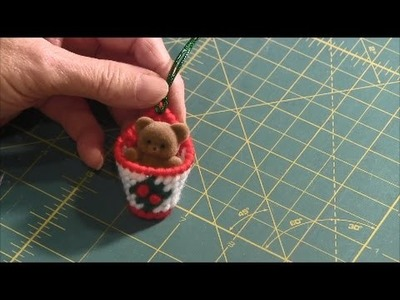 Christmas Plastic Canvas Basket Ornament