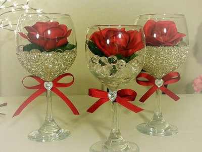 DIY: DOLLAR TREE WINE AND ROSE GLASS DECOR