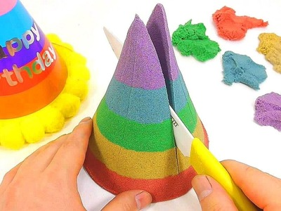 DIY How To Make Colors Birthday Party Hat Cake Kinetic Sand Learn Colors Numbers Counting Slime Toy