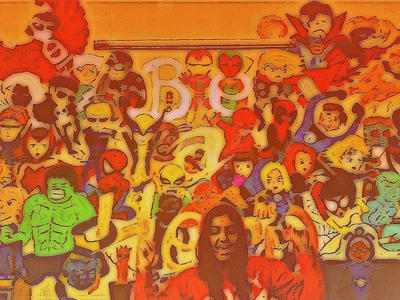 EASY DIY : Mural Painting My Room Wall With 50 Marvel Characters ! Timelapse