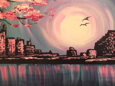 Evening Skyline-  fast & easy acrylic painting tutorial for beginners. How to paint step by step