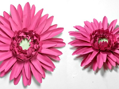 Gerbera daisy paper flower diy tutorial.Paper flowers easy for children, for kids,for beginners