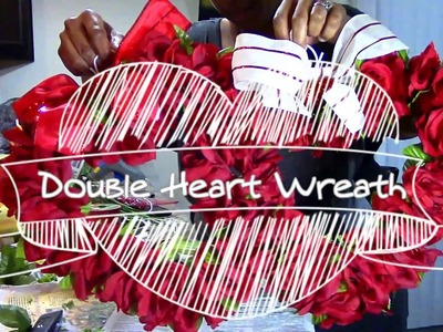 Home Decor.Dollar Tree DIY Double Heart Wreath