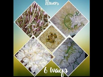 How to - 6 Ways to make flower Arragements. Garland.Veni Pelli Poola Jada