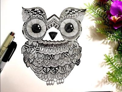 How to draw an Owl doodle : Mandala