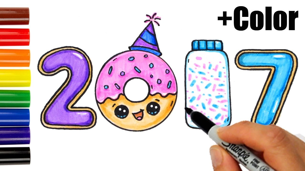 How to Draw + Color 2017 as Cookies, Donut, Sprinkles - Happy New Year
