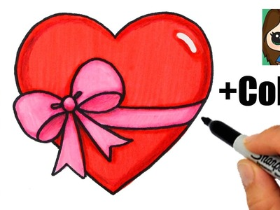 How to Draw + Color a Heart with a Bow Ribbon Emoji Easy