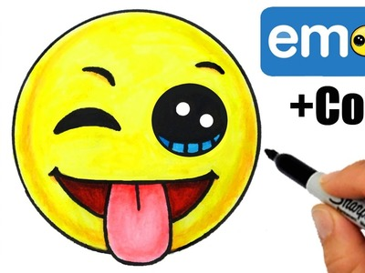 How to Draw + Color Emoji w.Winking Eye, Tongue Out Face step by step EASY