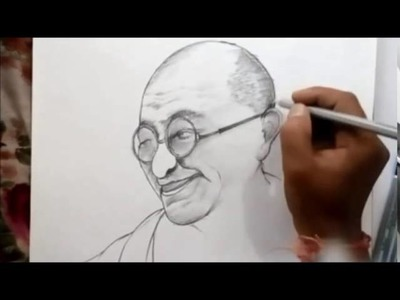 How to draw mahatma gandhi sketch by Pavan (hcl)