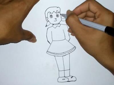 How to Draw Shizuka From Doraemon Step By Step