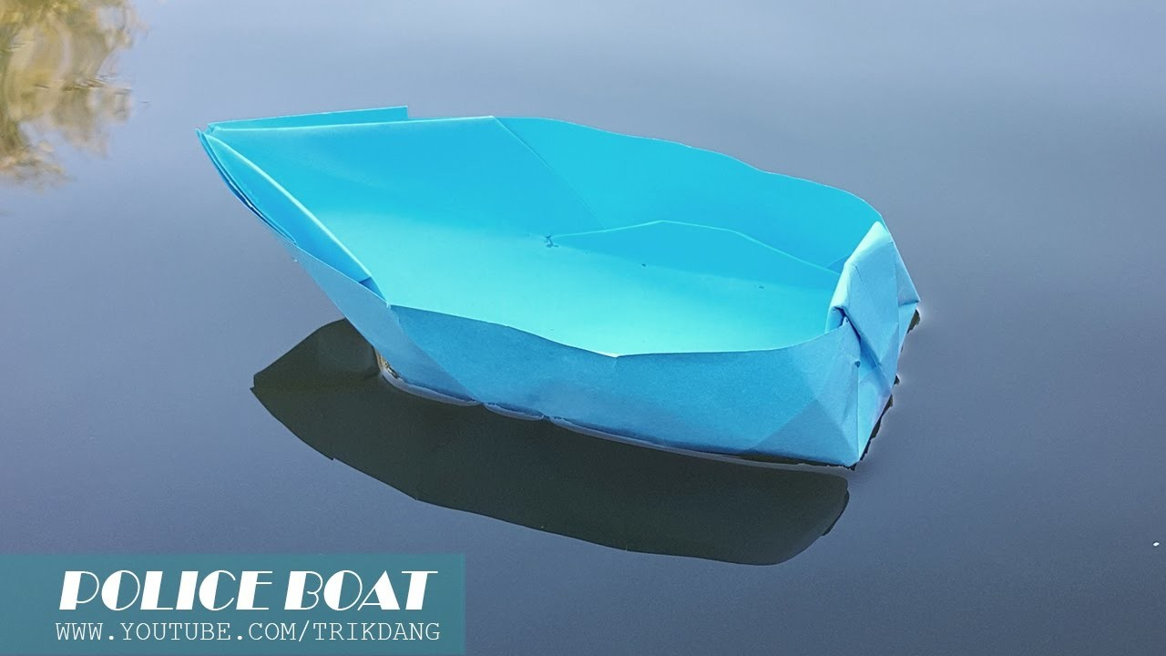 How to Make an Origami Boat - Paper Boat that Floats on Water - Police Boat. Cano