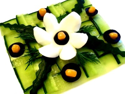 HOW TO MAKE CUCUMBER DESIGN GARNISH  - EGGS FLOWERS  & VEGETABLE  DECORATION - ART IN FRUIT CARVING