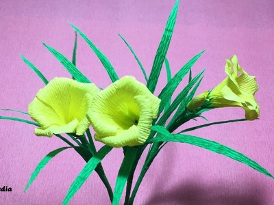 How to make origami yellow oleander flower by crepe paper easy.DIY flower folding tutorial