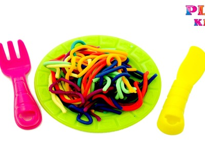 How to make Play-Doh spaghetti with fun factory | DIY Rainbow pasta | Learn rainbow colors Play-Doh