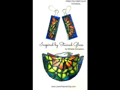 How to make stained glass inspired polymer clay jewelry pieces - video tutorial
