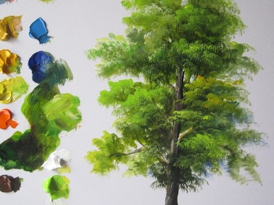 How to paint a tree in Acrylics lesson 3