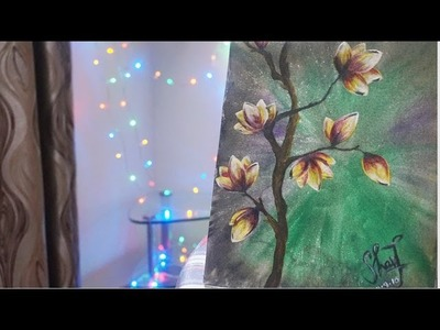 How to paint Flowers | Magnolia Blossoms | Acrylic Paint