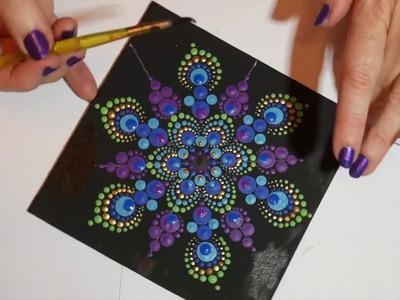 How to paint rock mandalas #6- Peacock design