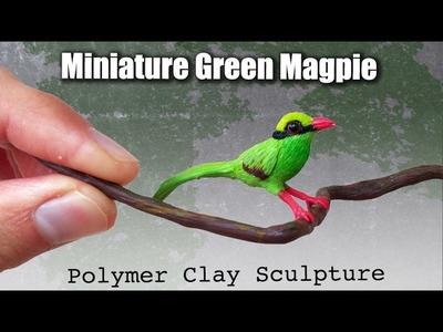 Miniature Bird Polymer Clay Bird. Javan Green Magpie Speed Sculpting
