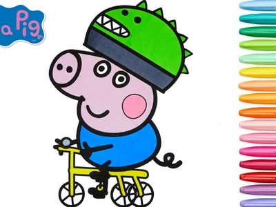 Peppa Pig Coloring Book George Pig Riding Bicycle Colouring Pages Episode Rainbow Splash